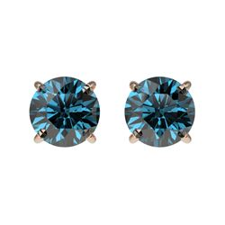 1.03 CTW Certified Intense Blue SI Diamond Solitaire Stud Earrings 10K Rose Gold - REF-87T2M - 36591