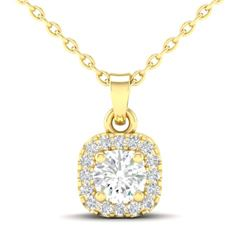 0.38 CTW Citrine & Micro VS/SI Diamond Heart Necklace Halo 18K Yellow Gold - REF-30X2T - 21309