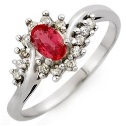 0.55 CTW Red Sapphire & Diamond Ring 10K White Gold - REF-22N8Y - 10143