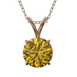 1 CTW Certified Intense Yellow SI Diamond Solitaire Necklace 10K Rose Gold - REF-147A2X - 33191