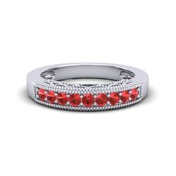 0.50 CTW Red Sapphire Band Love Me Art Deco Ring 10K White Gold - REF-17H6A - 20813