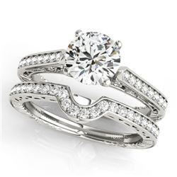 0.57 CTW Certified VS/SI Diamond Solitaire 2Pc Wedding Set Antique 14K White Gold - REF-86T5M - 3151