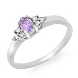 0.31 CTW Tanzanite & Diamond Ring 10K White Gold - REF-19M5H - 13366