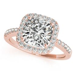 0.6 CTW Certified VS/SI Cushion Diamond Solitaire Halo Ring 18K Rose Gold - REF-90X9T - 27112