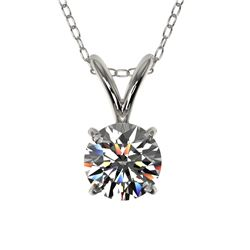 0.50 CTW Certified H-SI/I Quality Diamond Solitaire Necklace 10K White Gold - REF-51A2X - 33153