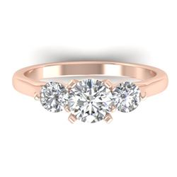 1.37 CTW Certified VS/SI Diamond Art Deco 3 Stone Ring 14K Rose Gold - REF-212N9Y - 30484