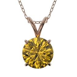 1.21 CTW Certified Intense Yellow SI Diamond Solitaire Necklace 10K Rose Gold - REF-240N2Y - 36793