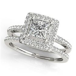 1.21 CTW Certified VS/SI Princess Diamond 2Pc Set Solitaire Halo 14K White Gold - REF-227F3N - 31352
