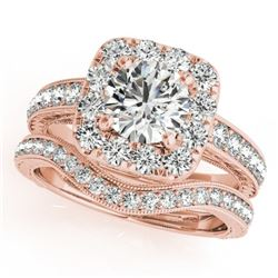 1.3 CTW Certified VS/SI Diamond 2Pc Wedding Set Solitaire Halo 14K Rose Gold - REF-161T3M - 30976