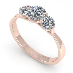 1 CTW Past Present Future Certified VS/SI Diamond Ring Martini 14K Rose Gold - REF-110M4H - 38343