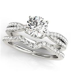 1.45 CTW Certified VS/SI Diamond Solitaire 2Pc Wedding Set 14K White Gold - REF-391H8A - 31916