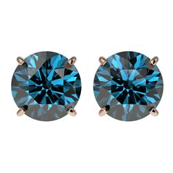 3 CTW Certified Intense Blue SI Diamond Solitaire Stud Earrings 10K Rose Gold - REF-379Y3K - 33127