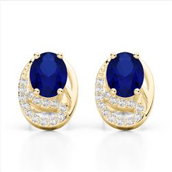 2.50 Sapphire & Micro VS/SI Diamond Stud Earrings 10K Yellow Gold - REF-25K6W - 22339