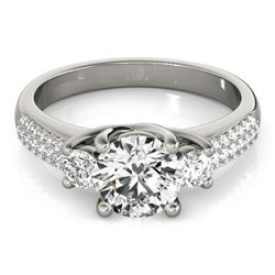 1.25 CTW Certified VS/SI Diamond 3 Stone Micro Pavering 18K White Gold - REF-225A3X - 28020