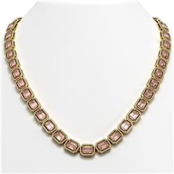 50.99 CTW Morganite & Diamond Halo Necklace 10K Yellow Gold - REF-1273A5X - 41344