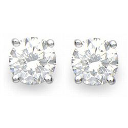 1.0 CTW Certified VS/SI Diamond Solitaire Stud Earrings 14K White Gold - REF-178M2H - 12266