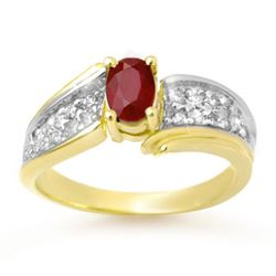 1.43 CTW Ruby & Diamond Ring 10K Yellow Gold - REF-46M4H - 13342