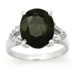 6.58 CTW Blue Sapphire & Diamond Ring 10K White Gold - REF-67N6Y - 12766