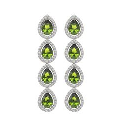 7.88 CTW Tourmaline & Diamond Halo Earrings 10K White Gold - REF-178T5M - 41159