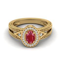 0.83 CTW Ruby & VS/SI Diamond Designer Solitaire Halo Fashion Ring 10K Yellow Gold - REF-25F8N - 208