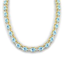 37.5 CTW Aquamarine & VS/SI Certified Diamond Eternity Necklace 10K Yellow Gold - REF-425F5N - 29418
