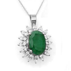 6.21 CTW Emerald & Diamond Pendant 18K White Gold - REF-109M8H - 12840