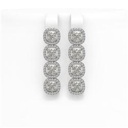 6.01 CTW Cushion Diamond Designer Earrings 18K White Gold - REF-1127T6M - 42719