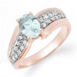 1.20 CTW Aquamarine & Diamond Ring 14K Rose Gold - REF-59M5H - 14521