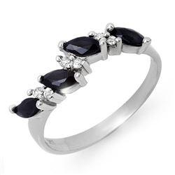 0.80 CTW Blue Sapphire & Diamond Ring 10K White Gold - REF-20H4A - 12875