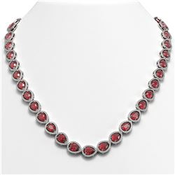 35.13 CTW Tourmaline & Diamond Halo Necklace 10K White Gold - REF-723X3T - 41060