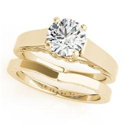 1 CTW Certified VS/SI Diamond Solitaire 2Pc Wedding Set 14K Yellow Gold - REF-396H4A - 31861