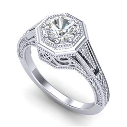 0.84 CTW VS/SI Diamond Solitaire Art Deco Ring 18K White Gold - REF-236A4X - 37091