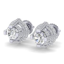 2.75 CTW VS/SI Diamond Micro Pave Stud Earrings 18K White Gold - REF-320M2H - 36950
