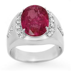 7.33 CTW Pink Sapphire & Diamond Men's Ring 10K White Gold - REF-154N5Y - 13417