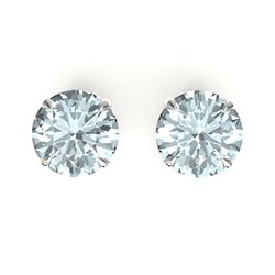 4 CTW Sky Blue Topaz Designer Inspired Solitaire Stud Earrings 18K White Gold - REF-29A3X - 21846