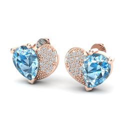 2.50 CTW Sky Blue Topaz & Micro Pave VS/SI Diamond Earrings 10K Rose Gold - REF-30M2H - 20066
