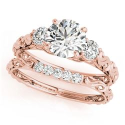 0.89 CTW Certified VS/SI Diamond 3 Stone 2Pc Wedding Set 14K Rose Gold - REF-119T8M - 32049