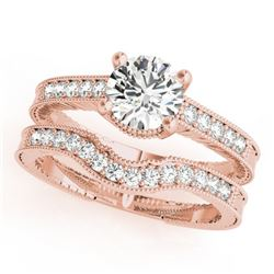 0.88 CTW Certified VS/SI Diamond Solitaire 2Pc Wedding Set Antique 14K Rose Gold - REF-140Y5K - 3153