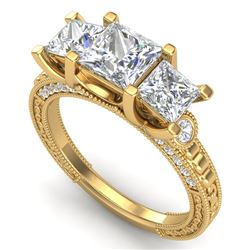 2.66 CTW Princess VS/SI Diamond Art Deco 3 Stone Ring 18K Yellow Gold - REF-581M8H - 37159