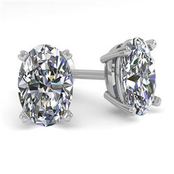 1.0 CTW Oval Cut VS/SI Diamond Stud Designer Earrings 18K White Gold - REF-180W2F - 32271