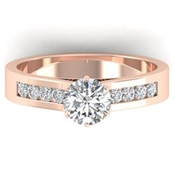 1.1 CTW Certified VS/SI Diamond Solitaire Art Deco Ring 14K Rose Gold - REF-188W2F - 30346