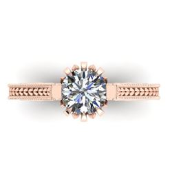 1 CTW Solitaire Certified VS/SI Diamond Ring 14K Rose Gold - REF-287F3N - 38545