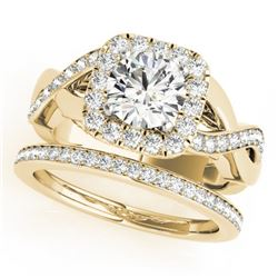 2.35 CTW Certified VS/SI Diamond 2Pc Wedding Set Solitaire Halo 14K Yellow Gold - REF-542F4N - 30656