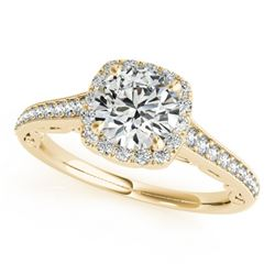 0.9 CTW Certified VS/SI Diamond Solitaire Halo Ring 18K Yellow Gold - REF-151A8X - 26544
