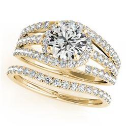 1.15 CTW Certified VS/SI Diamond Solitaire 2Pc Wedding Set 14K Yellow Gold - REF-152W8F - 32008
