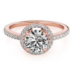 1.4 CTW Certified VS/SI Diamond Solitaire Halo Ring 18K Rose Gold - REF-395Y5K - 26818