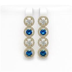 6.25 CTW Blue & White Diamond Designer Earrings 18K Yellow Gold - REF-782T4M - 42685