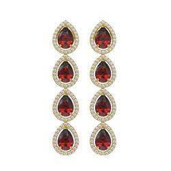 8.2 CTW Garnet & Diamond Halo Earrings 10K Yellow Gold - REF-135N3Y - 41185