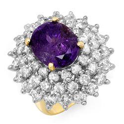 12.50 CTW Tanzanite & Diamond Ring 14K Yellow Gold - REF-660T9M - 13427