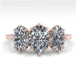 2 CTW Solitaire Past Present Future VS/SI Oval Cut Diamond Ring 18K Rose Gold - REF-414A2X - 35780